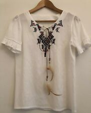 Handmade Vintage Boho Peasant Top, Short Sleeve, Cross-stitch, White, Size 10