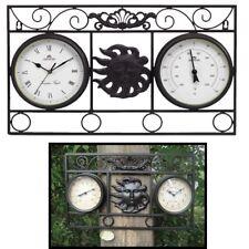 GARTENUHR Wanduhr und Thermometer Wetterstation 35X4,7X55CM Metall schwarz