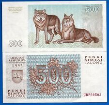 Lithuania P-46 500 Tolonas Year 1993 Uncirculated Banknote Europe