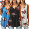 Plus Size Womens Boho Floral Sleeveless Tank Tops Ladies Vest Shirt Loose Tops