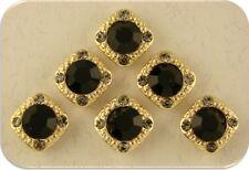 2 Hole Beads Gala 8mm Jet Black & Smoke Swarovski Crystal Elements Sliders QTY 6