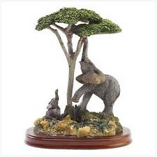 "Elephant and Child Figurine, Polyresin with Wood Base, 5 1/2"" x 3 7/8"" x 6 3/4"""