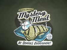 """Secretly Prepared Mystery Meat"" School Cafeteria Green Graphic Print T Shirt L"
