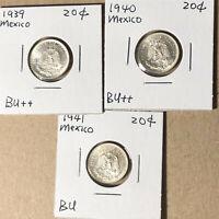 1939 1940 1941 Mexico 20 Centavos Lot of 3 Silver Coin BU