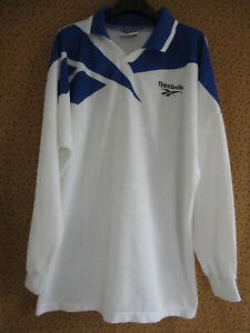 Maillot Reebok Blanc Bleu vintage Jersey Football Manche Longue - XXL