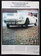 "Original 1969 Triumph Spitfire Advertising Poster 16½"" x 11"" Not a Magazine Ad"