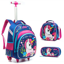 Meetbelify 3Pcs Rolling Backpack for Girls with Lunch Bag Pencil Case School