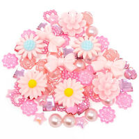 80 Mix Light Pink Shabby Chic Resin Flatbacks Craft Cardmaking Embellishments