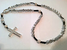 Shamballa Crucifix cross Necklace White & clear/silver beads & Diamante Cross