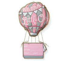 Welcome Little One Girl Hanging Burlap Hot Air Balloon Wood Hanging Sign Pink