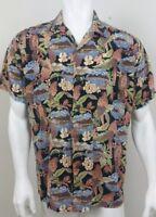 High Surf Mens Hawaiian Shirt Size Large Short Sleeve Button Front Floral Island
