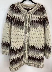 Vintage Chunky Knit Nordic Style Wool Cardigan Jacket Coat Large, Women