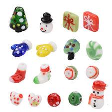 Christmas Theme Handmade Lampwork Beads Sets Mixed Color Jewelry Craft 17pcs/box