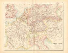 1874 ca LARGE ANTIQUE MAP- BARTHOLOMEW - CENTRAL EUROPE WITH THE RAILWAYS