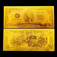BILLETE 2$ US DOLLAR REPLICA ORO GOLD 24K