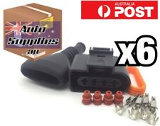 6 Set VW Audi Ignition Coil Connector & Ribbed Boot 1J0973724 Golf R8 A4 A6 A8