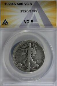 1920-S  50C ANACS VG8    Walking Liberty, Lady Liberty Half, 0.50