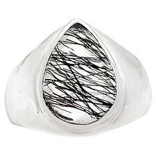 Tourmalated Quartz - Black Rutile 925 Sterling Silver Ring s.8 SSS BRUR958