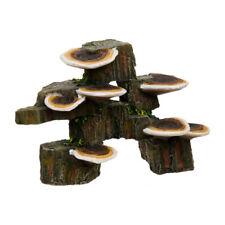 Resin Mushrooms On Rock 4.25in Small Brown Each