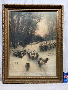 Vtg 20-30's J. Farquharson THE SUN HAD CLOSED THE WINTER DAY Sheep Print Framed