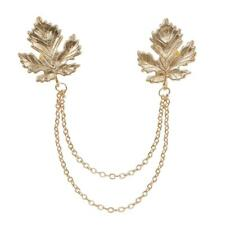 Antique Bronze Maple Leaf Tassel Chain Shirt Collar Brooch Pin Neck Tip Punk