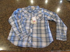 Cumberland Her Girls Rodeo Western wear NWT Long Snap button S Blue plaid bling