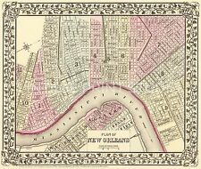 New Orleans Mississippi River 1880 Old Historic Map Giclee Canvas Print 40X34
