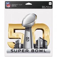 """SUPER BOWL 50 YEARS NFL 8""""X 8"""" DIECUT COLOR DECAL Santa Clara, California USA"""