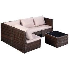 Set de 5pcs muebles de jardín PE ratán Sofá resina trenzada aire libre marrón
