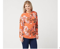Studio by Denim & Co. Printed Long-Sleeve Top with Keyhole Apricot Small