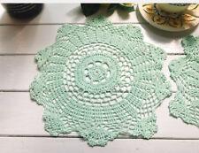 Pretty Soft Green Hand Floral Crochet Cotton Round Doily 30CM