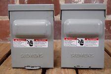 Set of 2 Siemens WN2060 60A 240VAC Rainproof Type 3R Enclosures Non Fused