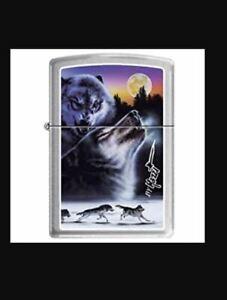 Genuine ZIPPO Petrol Lighter - ZIPPO CLAUDIO MAZZI - WOLVES AT SUNSET - Z503