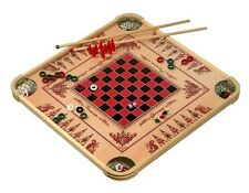 Carrom Game Board, Checker Billiard Crokinole Chess, 100Games Family Wood Disc