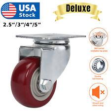 Heavy Duty 3 4 5 Inch Caster Wheels Swivel Plate Polyurethane Wheels Pack