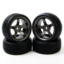 1:10 4Pcs Flat Racing Tires WheelRim For RC On Road Car 6mm Offset PP0150+D5M