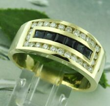 14k Solid Yellow Gold Mens Men's Natural Diamond & Blue Sapphire Ring 1.80 ct