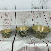 Set of 3 Robinson Ransbottom RRP Blue Spongeware Stoneware Mixing Bowls