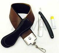 Cut Throat Barber Straight Edge Razor Leather Sharpening Strop & Dovo Paste