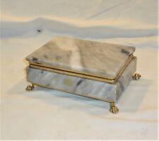VINTAGE HANDMADE MARBLE JEWELLERY BOX HANDMADE BRASS HARDWARE * HEAVY BOX