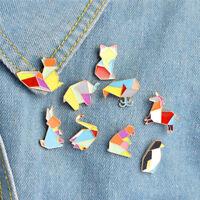 9 Unids / set Esmalte de Dibujos Animados Animal Broche Pin Camisa Collar P QA