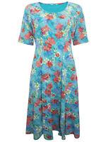 Cotton Traders Midi Dress Size 12 14 16 18 Aqua Floral Short Sleeves New