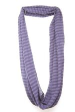 Minimalist & chic dark blue stripes & attached round winter neck scarf (S31)