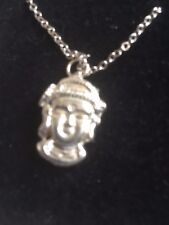 """Budha TG323A  Fine English Pewter On 16"""" Silver Plated Curb Necklace"""