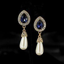 earrings Nails Golden Drop Navy Blue Pearl Pear Class Marriage YW7