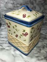 Vintage 90's Inspirado Ceramic Cookie Jar with Cherries / Made In The USA