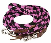 Showman PINK 8' Braided Nylon Barrel Reins W/ Scissor Snap Ends! HORSE TACK!