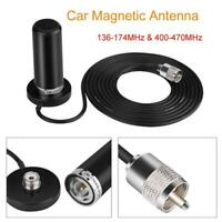 Portable Dual Band VHF UHF Ham Mobile Radio Antenna PL259 with Magnetic Base
