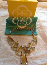 Kendra Scott Harlow Statement Necklace Rose Gold Suspended Brown Mother of Pearl