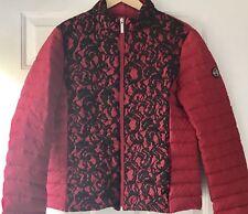 NWOT Womens MICHAEL KORS Jacket Bubble Coat Red With Black Lace Front Sz: Large